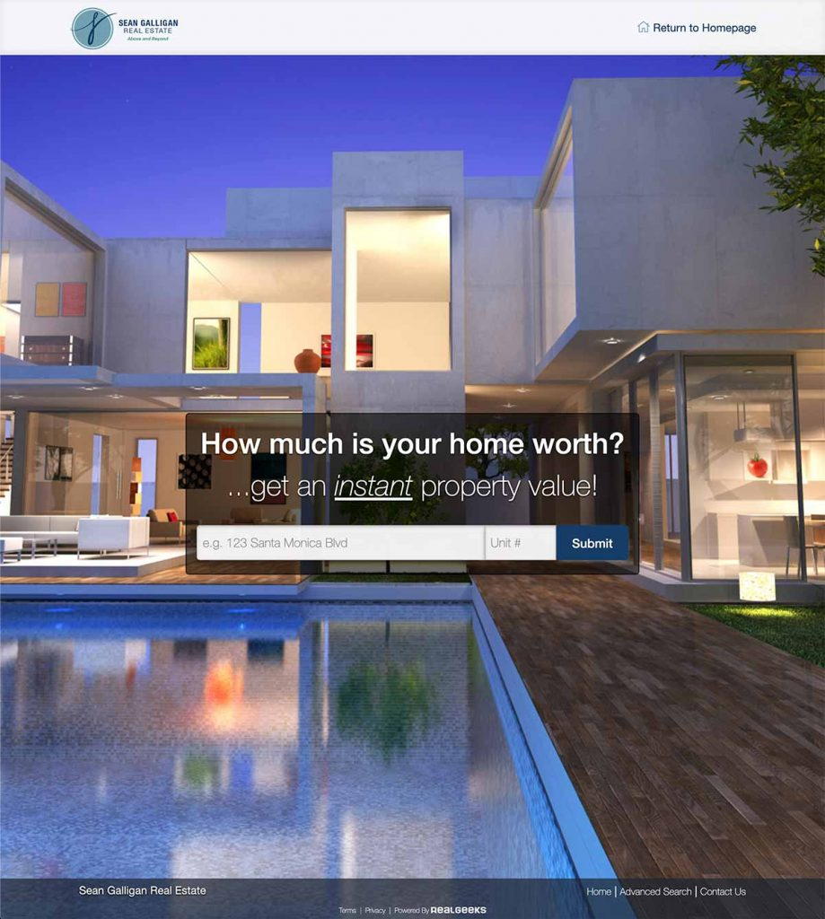 real geeks home value estimate tool for seller leads