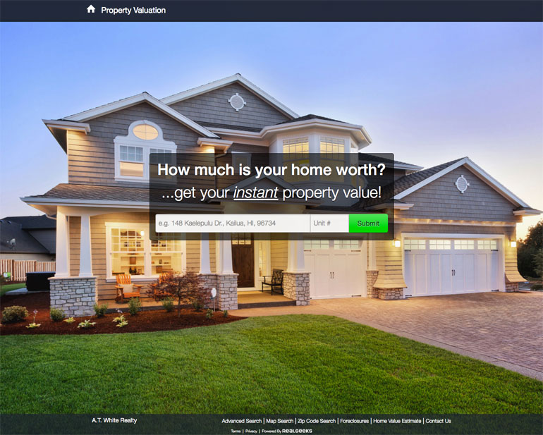 Real Geeks Home Value Calculator